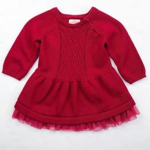 Cat & Jack Red Sweater Dress Lace Size 0-3 Months